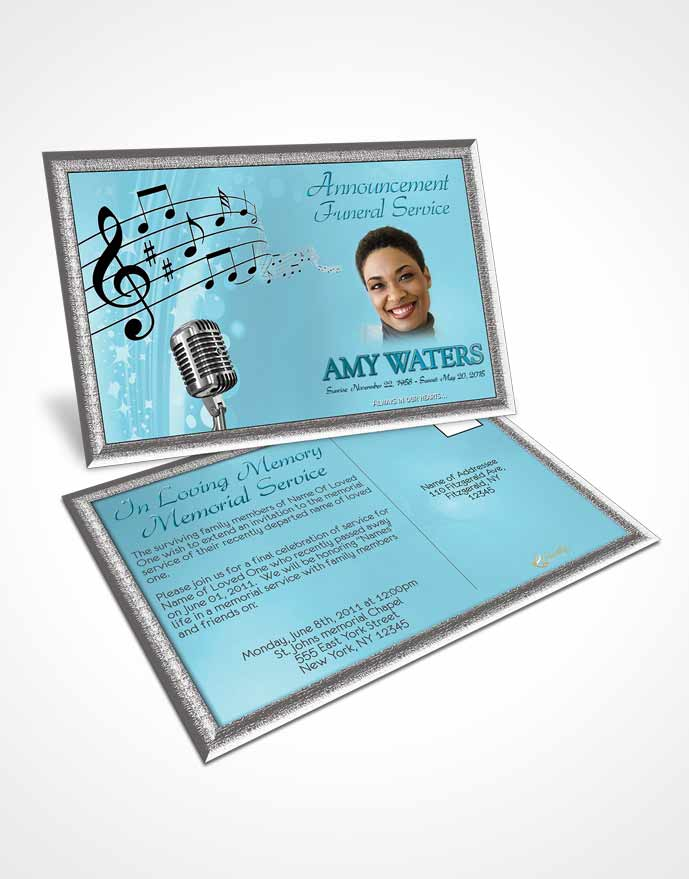 Funeral Announcement Card Template The Sound of Music Peaceful Ocean
