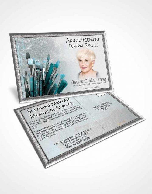 Funeral Announcement Card Template Turquoise Ocean Painters Paradise
