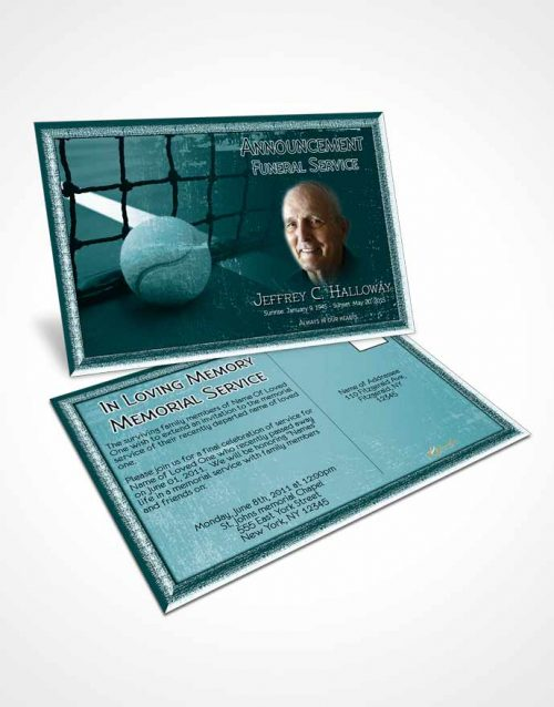 Funeral Announcement Card Template Turquoise Serenity Tennis Star