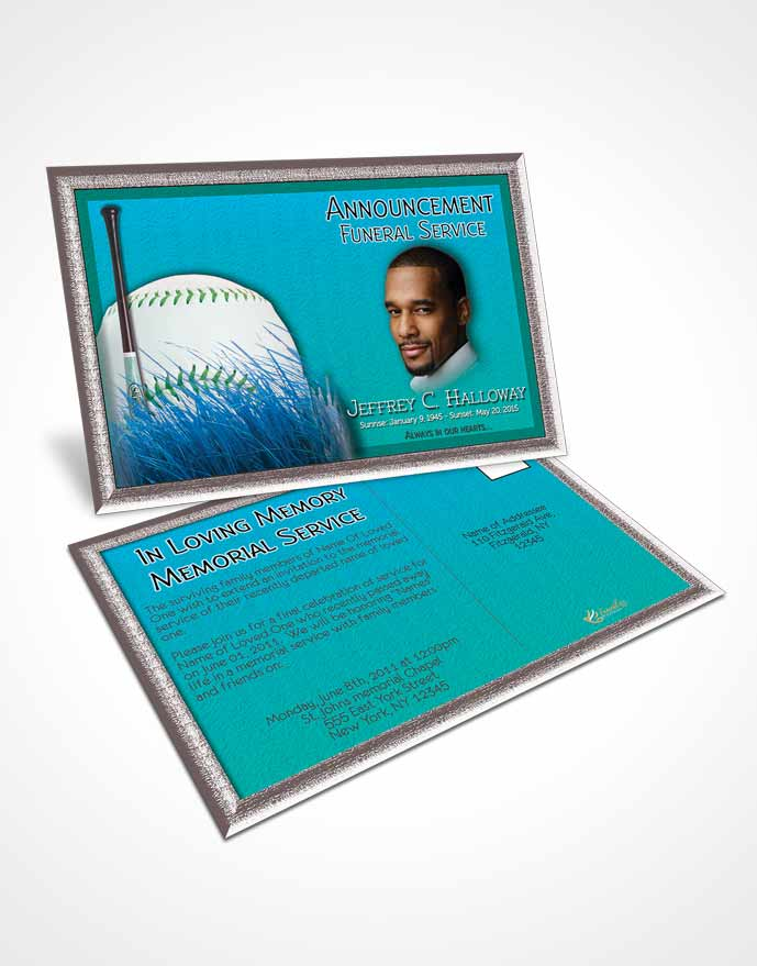 Funeral Announcement Card Template Turquoise Sky Baseball Star Light