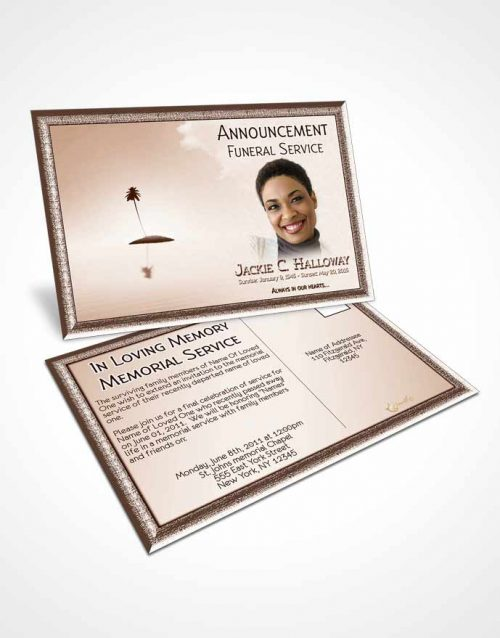 Funeral Announcement Card Template Up in the Peach Sky