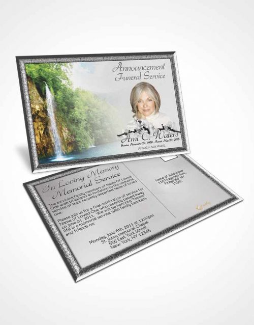 Funeral Announcement Card Template Waterfall Heaven Black and White