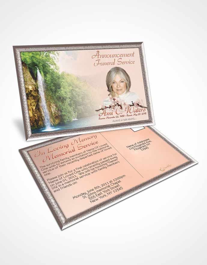 Funeral Announcement Card Template Waterfall Heaven Ruby Desire