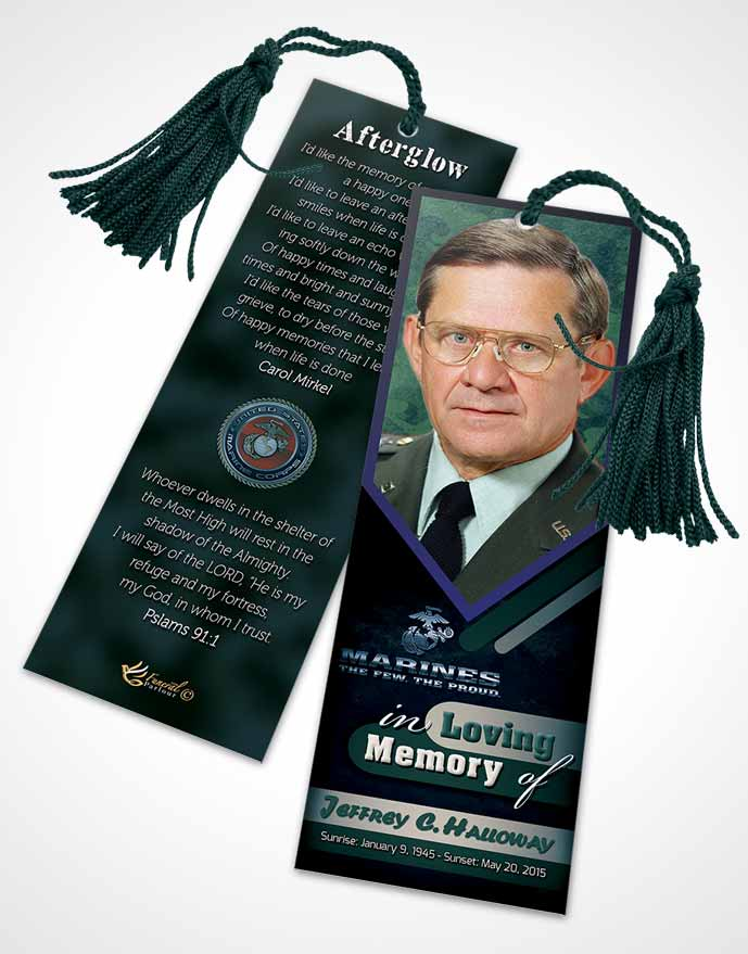 Funeral Bookmark Template 1st Marines The Few The Proud Desire