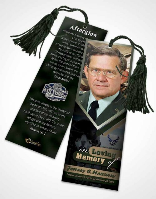 Funeral Bookmark Template 2nd Air Force Airman Serenity