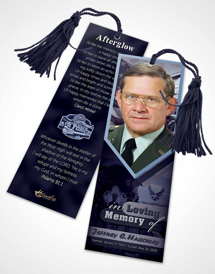 Funeral Bookmark Template 2nd Air Force Airman Sunset