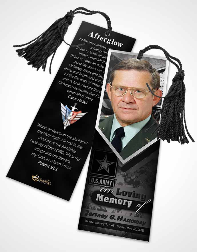 Funeral Bookmark Template 2nd Army Soldier Freedom
