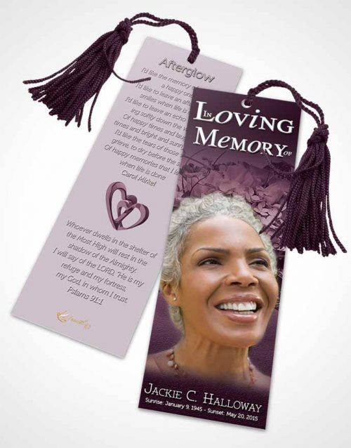 Funeral Bookmark Template A Beautiful Lavender Bouquet