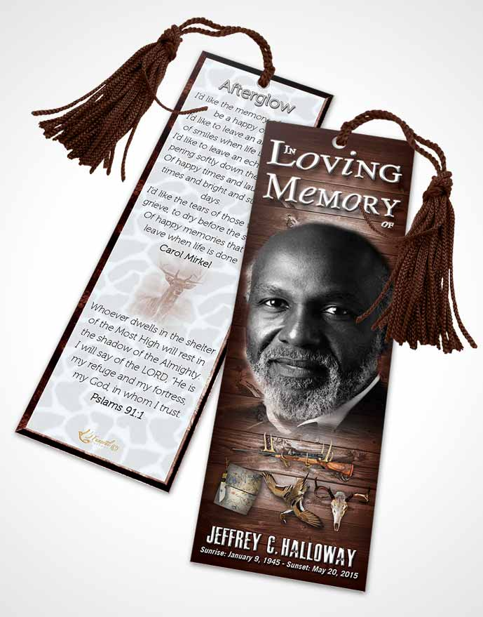 Funeral Bookmark Template A Hunters Catch Rustic Harmony