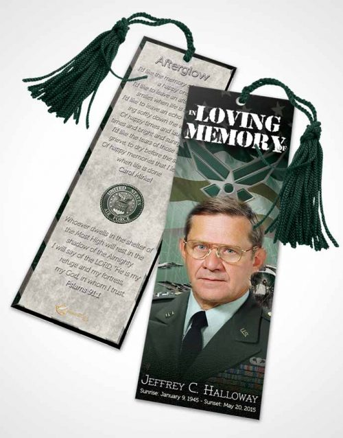 Funeral Bookmark Template Air Force Emerald Salute