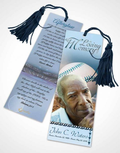 Funeral Bookmark Template Baseball Day Ocean Blue