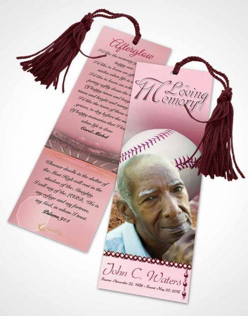 Funeral Bookmark Template Baseball Day Pink Sunset