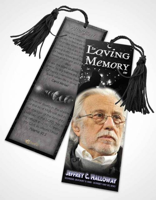 Funeral Bookmark Template Black and White Astronomers Sky