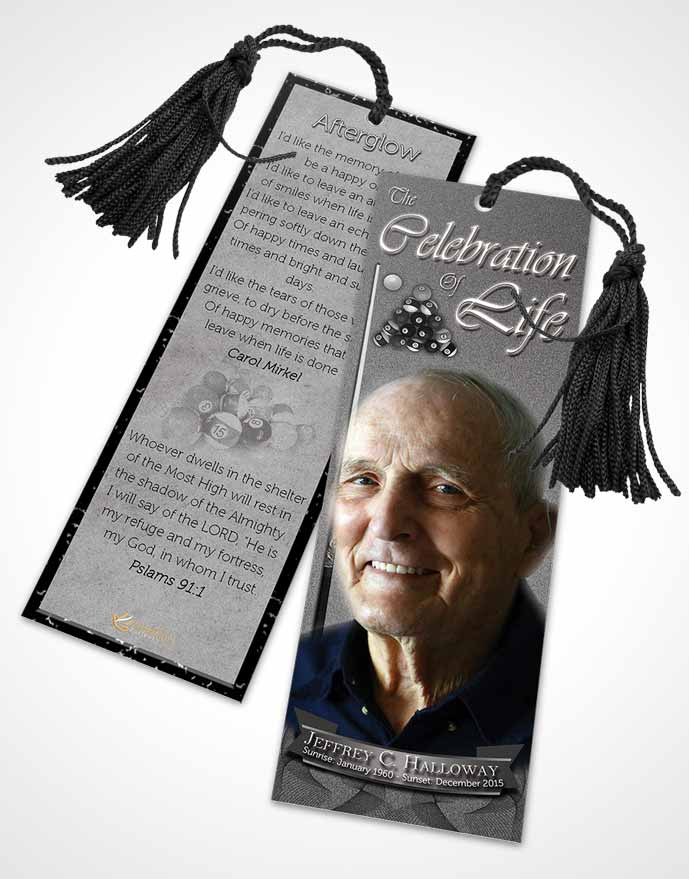 Funeral Bookmark Template Black and White Billiards Desire