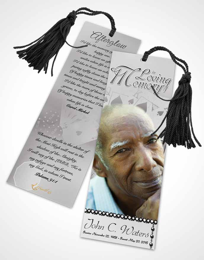 Funeral Bookmark Template Black and White King of Hands