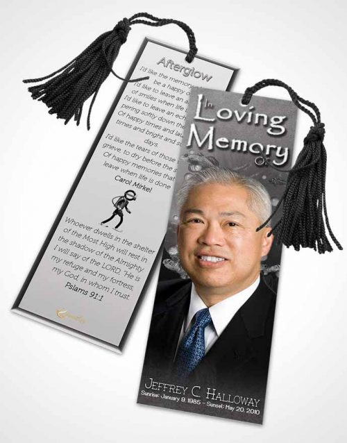 Funeral Bookmark Template Black and White Water Lover