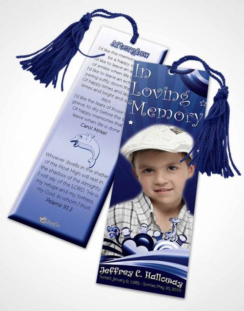 Funeral Bookmark Template Blue Eyes Childs Journey