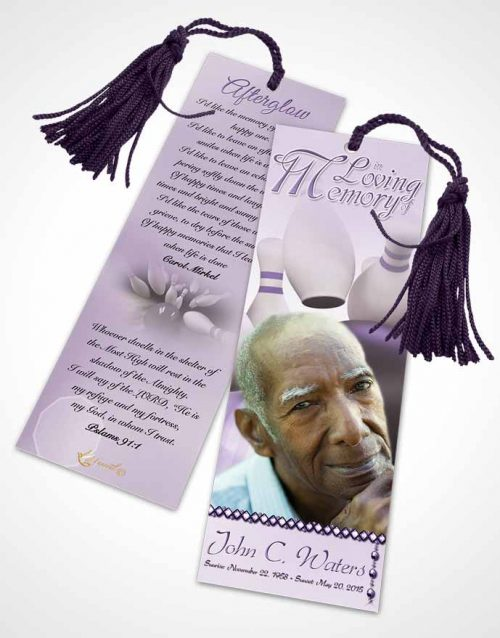 Funeral Bookmark Template Bowling Days Lavender Honor