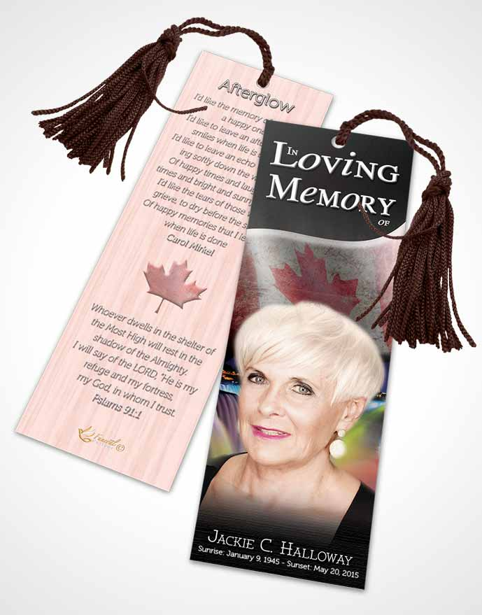 Funeral Bookmark Template Canadian Emerald Glow
