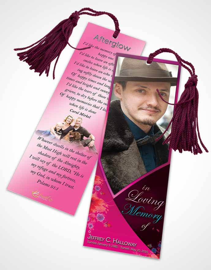 Funeral Bookmark Template Crystal Harmony Fuchsia Light