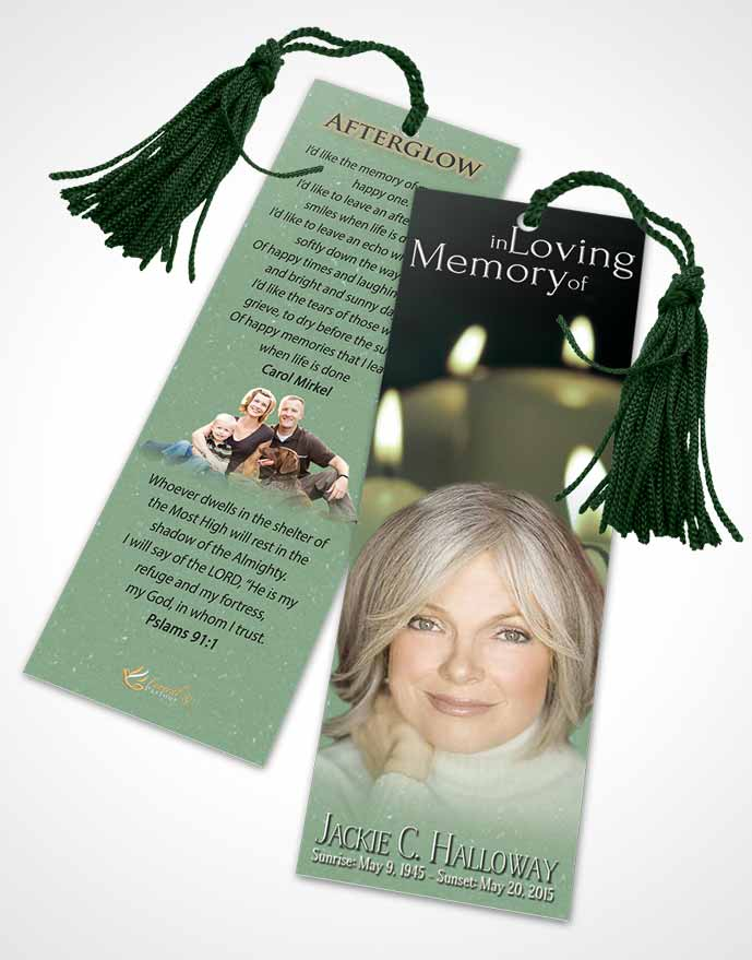 Funeral Bookmark Template Deep Forest Candles In The Wind