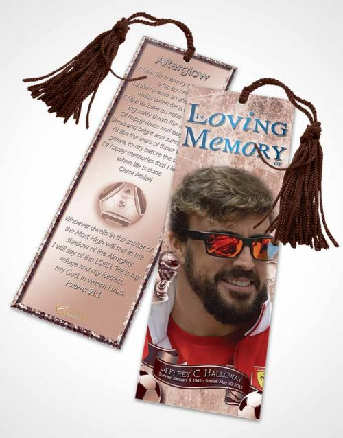 Funeral Bookmark Template Deep Ruby Dreams Soccer Superstar