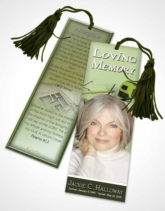 Funeral Bookmark Template Emerald Architect