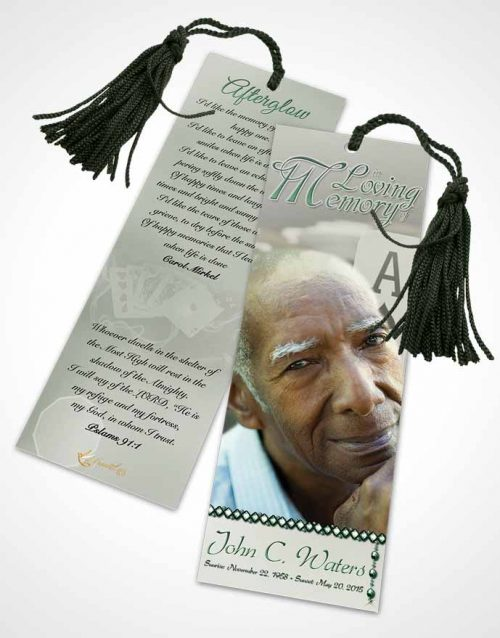 Funeral Bookmark Template Emerald Cards