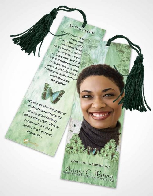 Funeral Bookmark Template Emerald Sunny Sunflowers