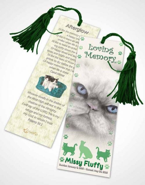 Funeral Bookmark Template Forest Fluffy Cat