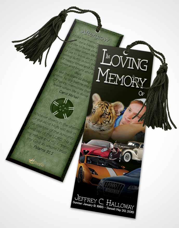 Funeral Bookmark Template Forest Smile Car Enthusiast