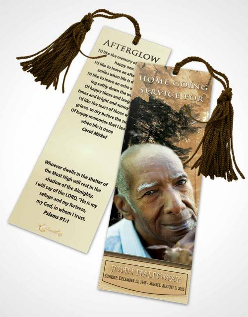 Funeral Bookmark Template Golden Forest Laughter