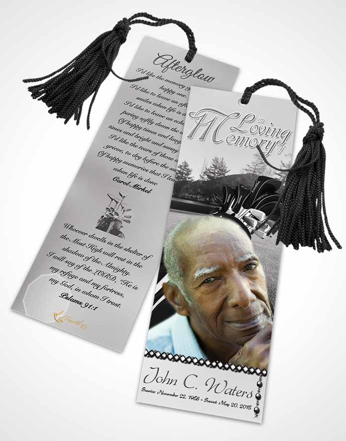 Funeral Bookmark Template Golfing Day Black and White