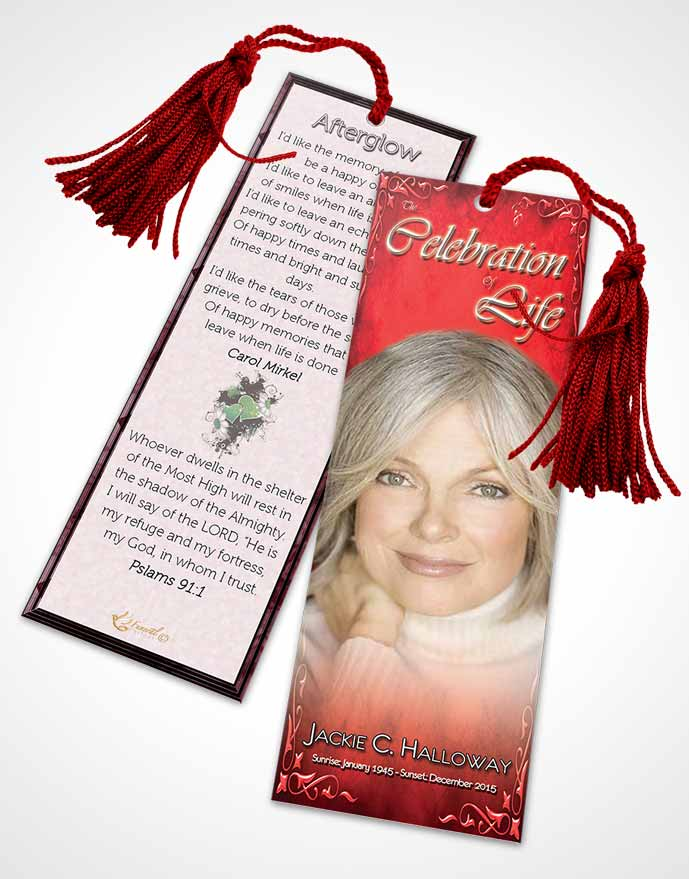 Funeral Bookmark Template Heavens Touch Brilliant Ruby