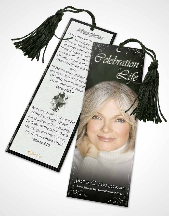 Funeral Bookmark Template Heavens Touch Deep Forest