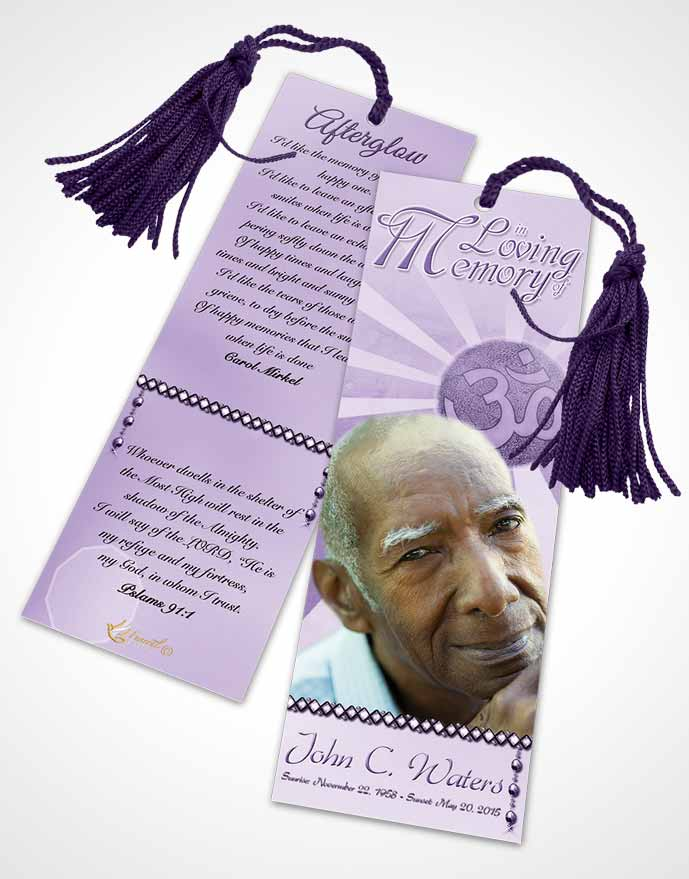 Funeral Bookmark Template Hinduism Faith Lavender Honor