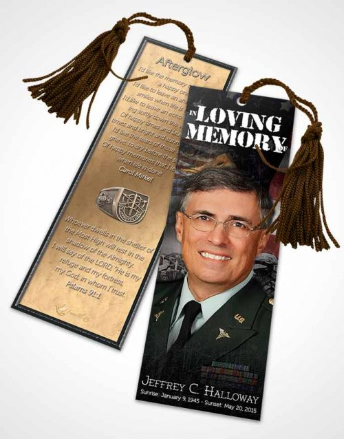 Funeral Bookmark Template In God We Trust Special Forces Salute