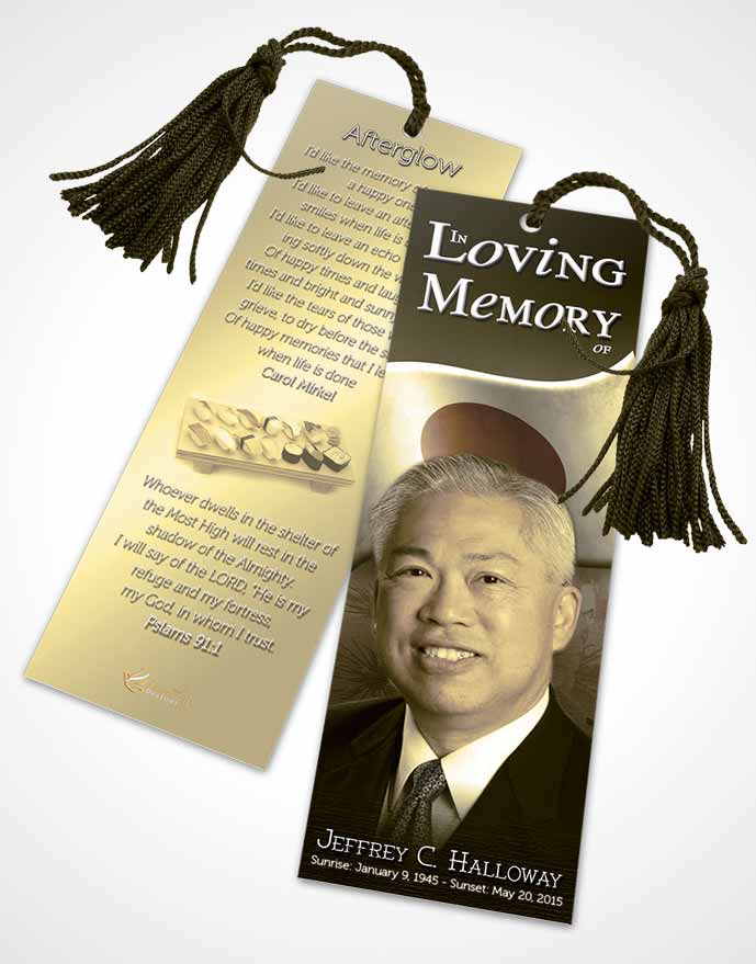 Funeral Bookmark Template Japanese Black and White Blossoms