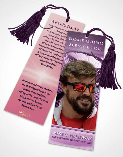 Funeral Bookmark Template Lavender Love Basketball Honor