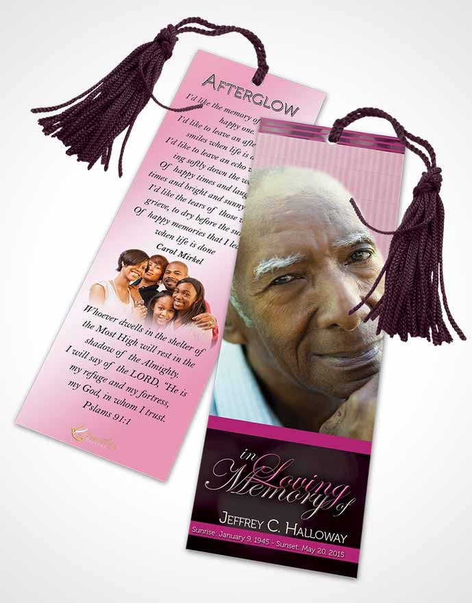 Funeral Bookmark Template Majestic Pink Carnation Light