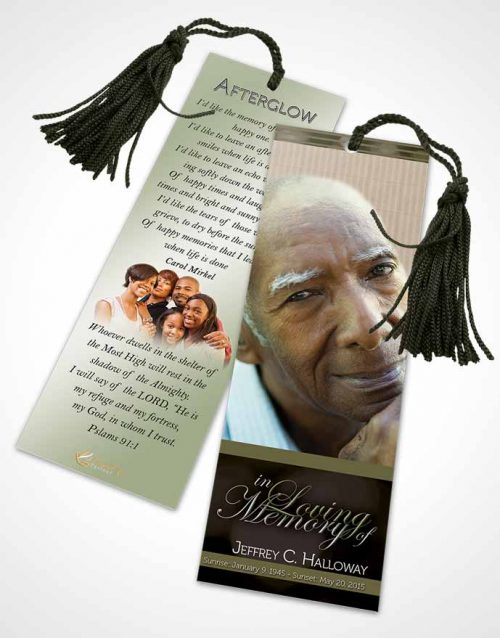 Funeral Bookmark Template Majestic Rustic Nights Dark