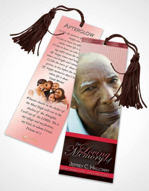 Funeral Bookmark Template Majestic Summer Ruby Desire Light