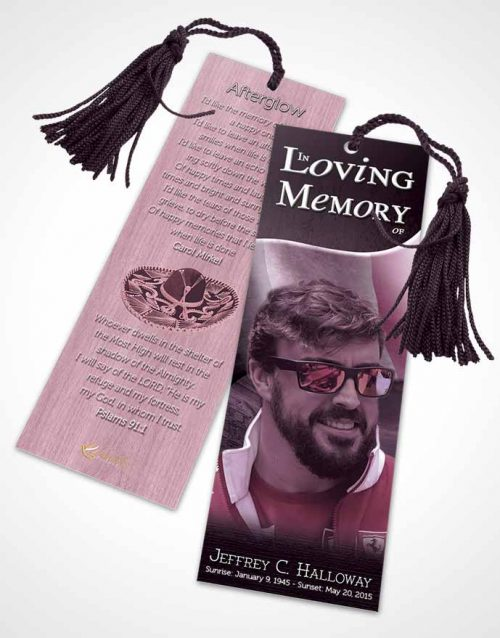Funeral Bookmark Template Mexican Burgundy Serenity