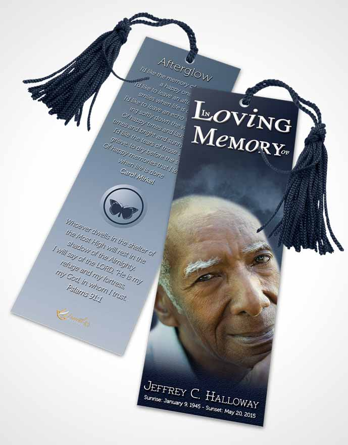 Funeral Bookmark Template Misty Topaz Clouds