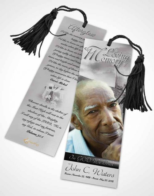 Funeral Bookmark Template On The Cross Black and White