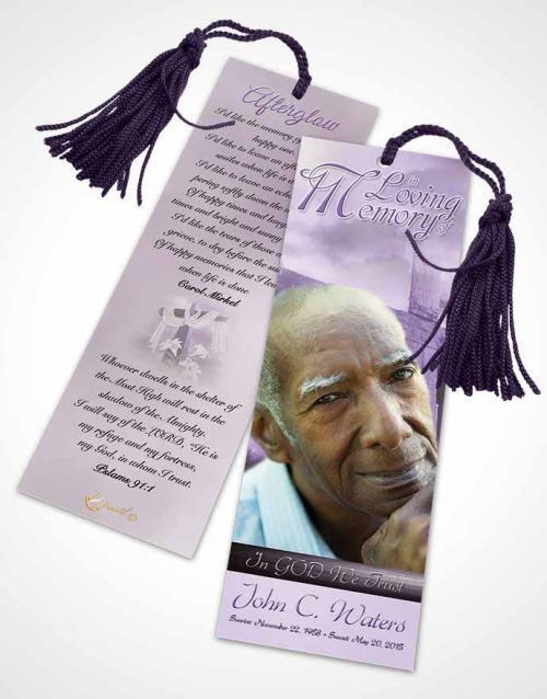 Funeral Bookmark Template On The Cross Lavender Honor