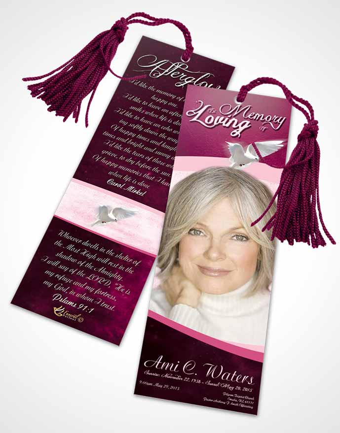Funeral Bookmark Template Rosy Paradise