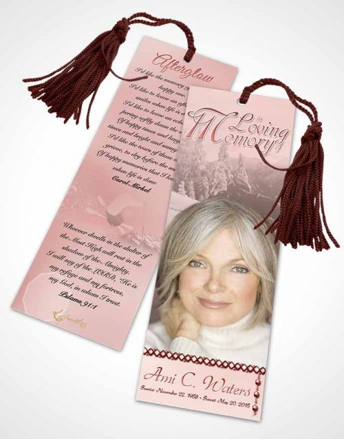 Funeral Bookmark Template Ruby Downhill Skiing