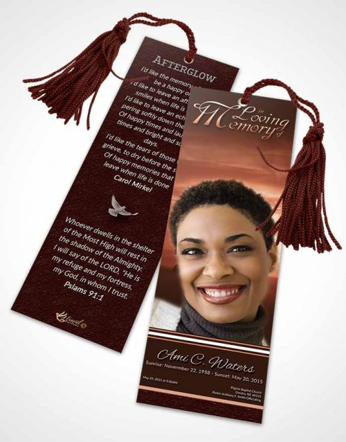 Funeral Bookmark Template Ruby Higher Power