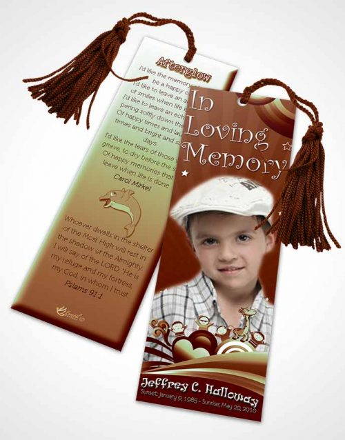 Funeral Bookmark Template Rustic Childs Journey